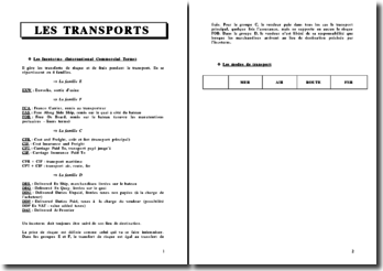 Les transports, Les Incoterms (International Commercial Terms)