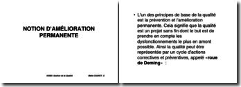 La roue de Deming : notion d'amélioration permanente
