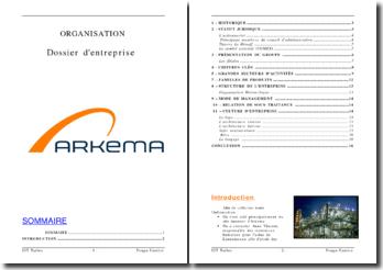 Organisation de l'entreprise ARKEMA
