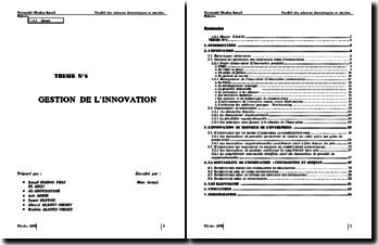 La gestion de l'innovation - compétitivité et incertitudes