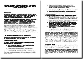 Quelles sont les grandes étapes des travaux du Comité de Bâle sur le contrôle bancaire depuis sa création en 1975?