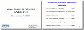 Les critères de sélection d'un OPCVM