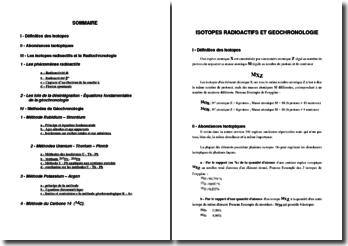 Isotopes radioactifs et géochronologie