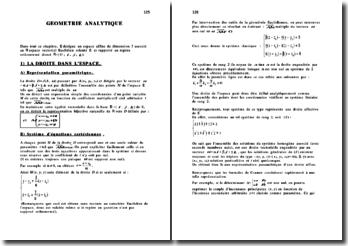 Cours de géométrie analytique