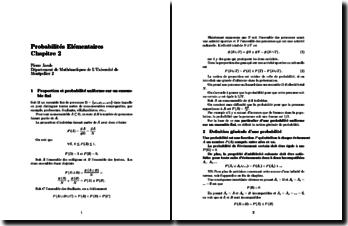 Cours de probabilités élémentaires Chap. 2