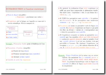 Introduction à l'analyse statistique