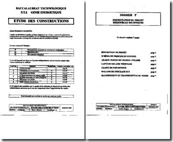 Bac technologique - STI génie énergétique - Sujet EDC 2001