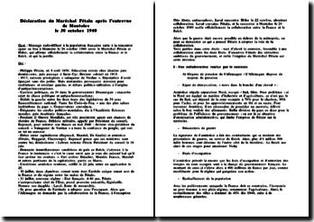 Déclaration du Maréchal Pétain après l'entrevue de Montoire le 30 octobre 1940