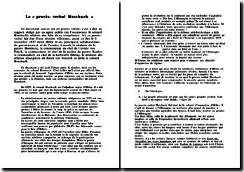 Le « procès-verbal Hossbach »