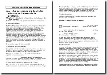 Histoire du Droit des Affaires, partie 1