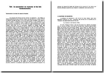 Commentaire du texte de Jean de Venette sur la succession au royaume et les lois fondamentales