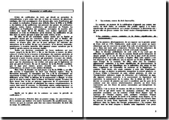 Coutume(s) et codification