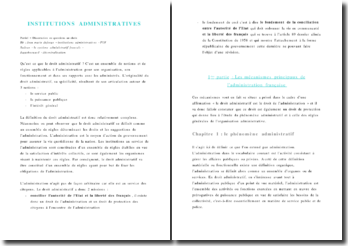 Les mécanismes et organismes principaux de l' administration française et les institutions locales décentralisées
