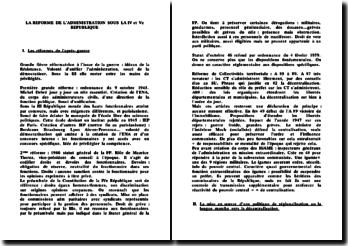La réforme de l'administration sous la IV et Ve République