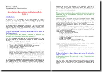 L'évolution du système institutionnel de Vichy
