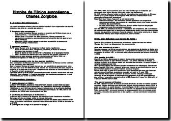 Histoire de l'Union européenne - C. Zorgbibe