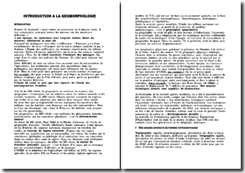 Introduction à la Géomorphologie