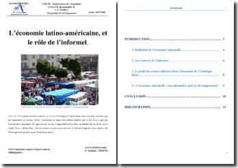 L'économie latino-américaine et le rôle de l'informel
