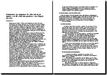 Commentaire des chapitres II « Des lois de la nature » et III « Des lois positives » de l'Esprit des lois.