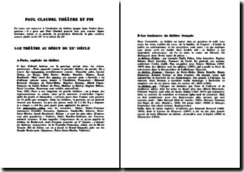 Paul Claudel: théatre et foi