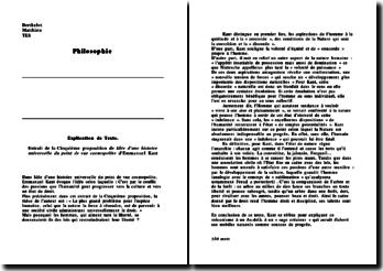 Extrait de la Cinquième proposition de Idée d'une histoire universelle du point de vue cosmopolite d'Emmanuel Kant