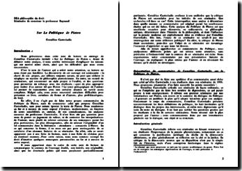 Sur Le Politique de Platon - Cornélius Castoriadis