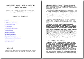 L'Etat en France de 1789 a nos jours - Rosanvallon