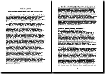 L'espace public - J. Habermas