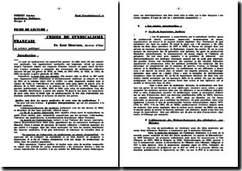 Crises du syndicalisme français - R. Mouriaux