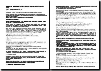 Sport et relations internationales (1900- 1941) - Arnaud Riordan