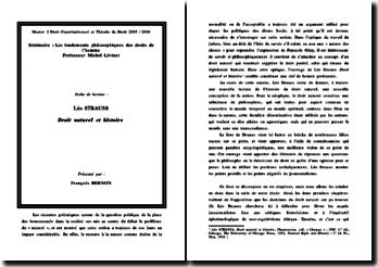 Droit naturel et histoire - Leo Strauss