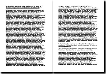 La Déclaration Universelle sur la bioéthique et les Droits de l'homme
