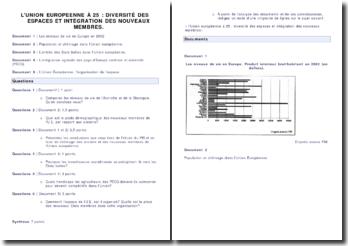 Commentaire de documents - L'UE à 25 : diversité des espaces et intégration des nouveaux membres