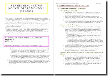 A la recherche d'un nouvel ordre international : 1975-2005