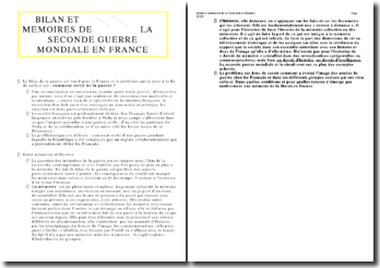 Bilan et mémoires de la seconde guerre mondiale en France