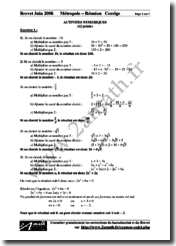 Brevet 2008 Mathématiques Corrigés