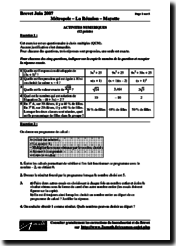 Brevet 2007 Mathématiques Énoncés