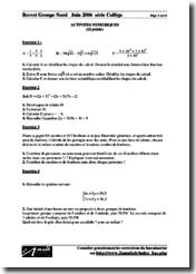 Brevet 2006 Mathématiques Énoncés France Métropole Nord