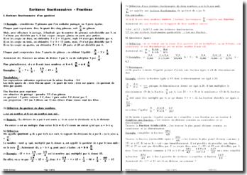 Ecritures fractionnaires - Fractions