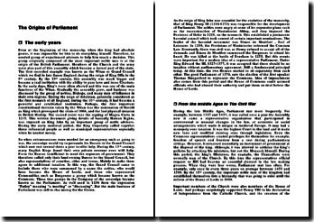 The Origins of Parliament