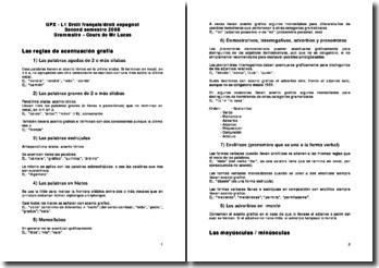 Grammaire espagnole (cours de fac)