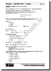Mathématiques Série S 2008 Corrigés