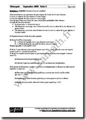 Mathématiques Série S (Septembre 2008) Énoncés