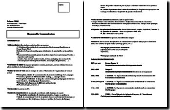 CV de responsable de communication