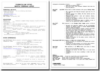CV type anglais GB