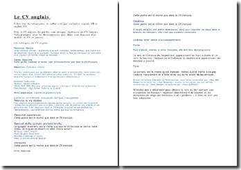 Modèle de CV et lettre de motivation en anglais