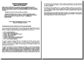 Contrat d'apprentissage pour les Apprentis étrangers