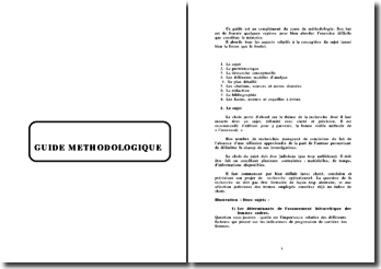 Guide méthodologique pour la rédaction d'un mémoire