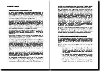 L'importance de la fonction publique d'Etat - analyse comparative de 4 systèmes nationaux