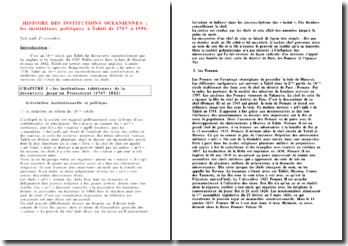 Droit des institutions océanniennes : les institutions politiques à Tahiti de 1767 à 1996